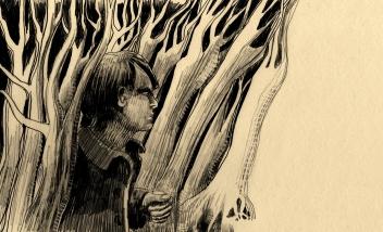 Les arbres devenaient  plus grands, plus nombreux, plus serrés...  et si serrés que d'un coup,  Alexandre fut entouré du noir le plus sombre.  Il entendit un bruit de pas sourds...